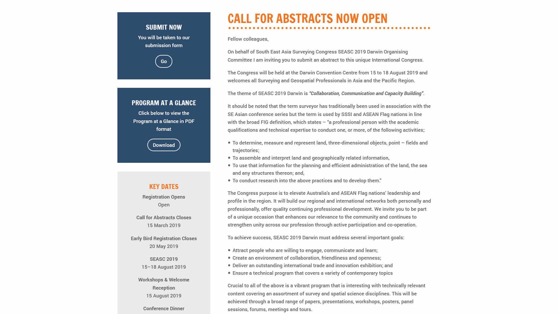 SEASC 2019 abstracts page