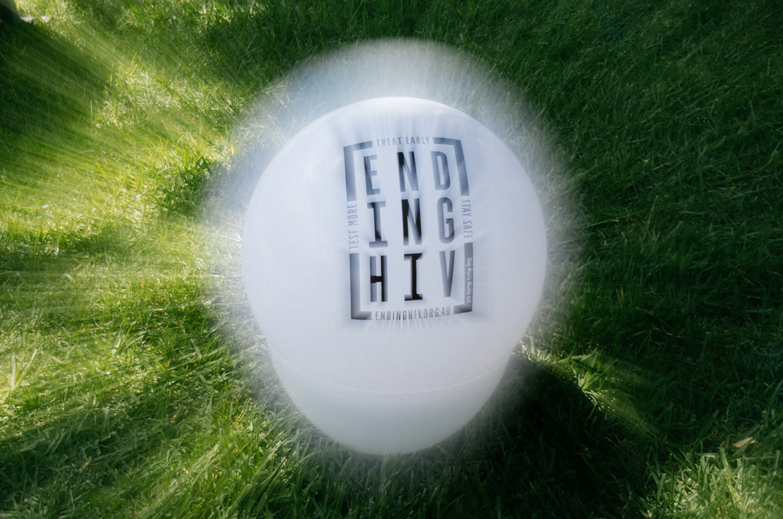 Photo of a ball with Ending HIV message